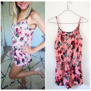 Pants - New floral pattern pink romper in size small🌸